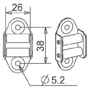 Guide sangle a 2 galets pour sangle de 25 mm maxi de largeur